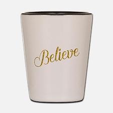 Believe Gold Faux Foil Metallic Glitter Shot Glass