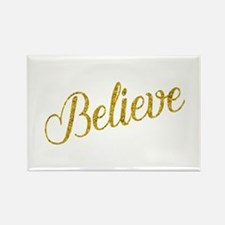 Believe Gold Faux Foil Metallic Glitter Qu Magnets