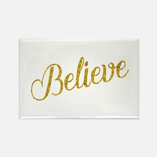 Believe Gold Faux Foil Metallic Glitter Qu Magnets