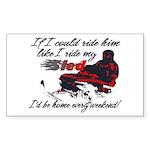 Ride Him Like My Sled Rectangle Sticker