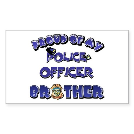 Proud of My Police Officer Brother Sticker (Rectan