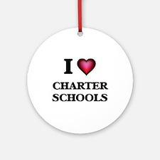I love Charter Schools Round Ornament