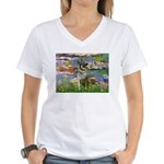 Lilies / Nor Elkhound Women's V-Neck T-Shirt