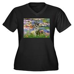 Lilies / Nor Elkhound Women's Plus Size V-Neck Dar