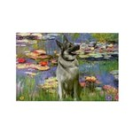 Lilies / Nor Elkhound Rectangle Magnet (10 pack)