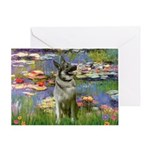 Lilies / Nor Elkhound Greeting Card