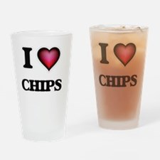 I love Chips Drinking Glass