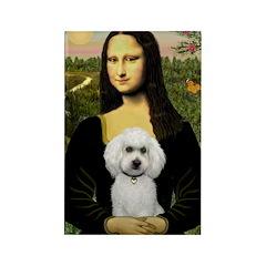 Mona Lisa / Poodle(w) Rectangle Magnet (10 pack)
