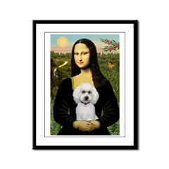 Mona Lisa / Poodle(w) Framed Panel Print