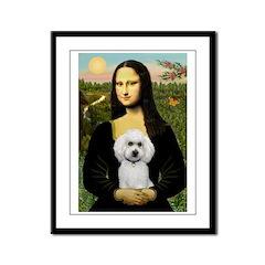 Mona Lisa / Poodle(w) Framed Panel Print