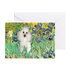 Irises / Poodle (w) Greeting Cards (Pk of 10)