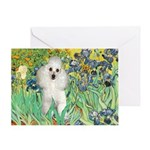 Irises / Poodle (w) Greeting Card