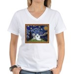 Starry Night / Poodle(w) Women's V-Neck T-Shirt