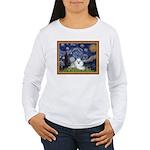 Starry Night / Poodle(w) Women's Long Sleeve T-Shi
