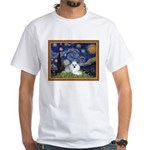 Starry Night / Poodle(w) White T-Shirt