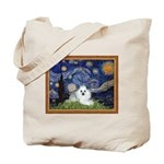 Starry Night / Poodle(w) Tote Bag