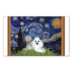 Starry Night / Poodle(w) Sticker (Rectangle)