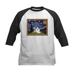 Starry Night / Poodle(w) Kids Baseball Jersey