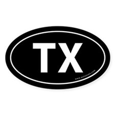 Texas TX Auto Sticker -Black (Oval)