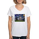 Starry Night / Poodle (s) Women's V-Neck T-Shirt