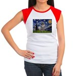 Starry Night / Poodle (s) Women's Cap Sleeve T-Shi