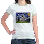 Starry Night / Poodle (s) Jr. Ringer T-Shirt