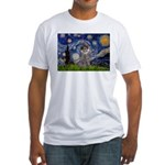 Starry Night / Poodle (s) Fitted T-Shirt