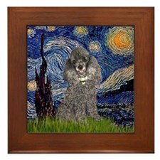 Starry Night / Poodle (s) Framed Tile