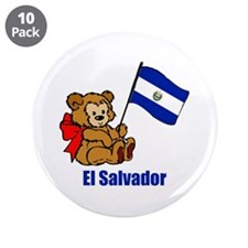 "El Salvador Teddy Bear 3.5"" Button (10 pack)"