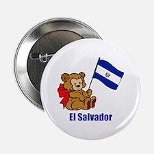 """El Salvador Teddy Bear 2.25"""" Button (10 pack)"""