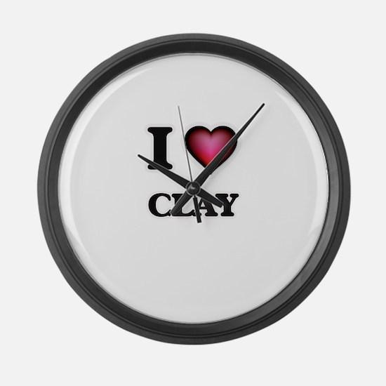 I love Clay Large Wall Clock