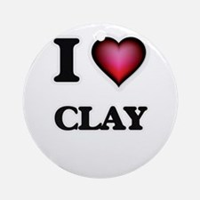 I love Clay Round Ornament