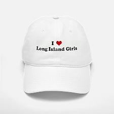 I Love Long Island Girls Baseball Baseball Cap