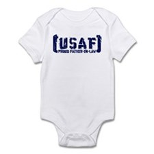 Proud USAF FthrNlaw - Tatterd Style Infant Bodysui