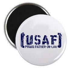 Proud USAF FthrNlaw - Tatterd Style Magnet