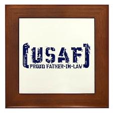 Proud USAF FthrNlaw - Tatterd Style Framed Tile