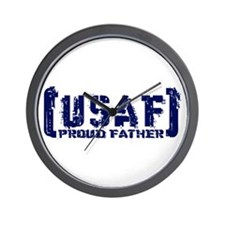 Proud USAF Fthr - Tatterd Style Wall Clock
