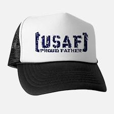 Proud USAF Fthr - Tatterd Style Trucker Hat