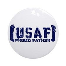 Proud USAF Fthr - Tatterd Style Ornament (Round)