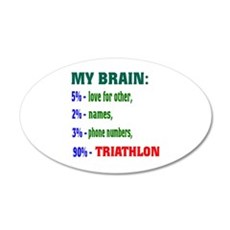 My Brain, 90 % Triathlon . Wall Decal