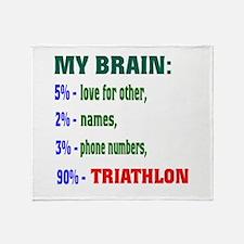 My Brain, 90 % Triathlon . Throw Blanket