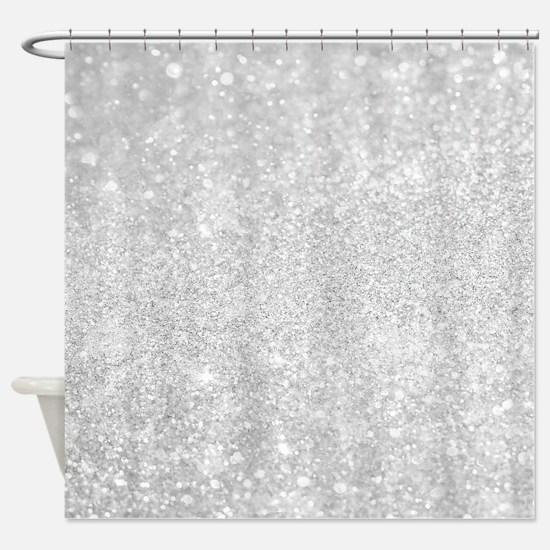 Silver Glitter Style Shower Curtain