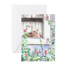 """Hollyhocks"" Greeting Cards (Pk of 10)"