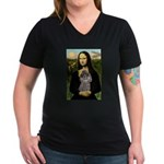Mona / Poodle (s) Women's V-Neck Dark T-Shirt