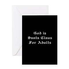 God is Santa - Black Greeting Card
