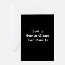 God is Santa - Black Greeting Card