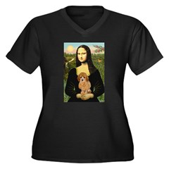 Mona / Poodle (a) Women's Plus Size V-Neck Dark T-