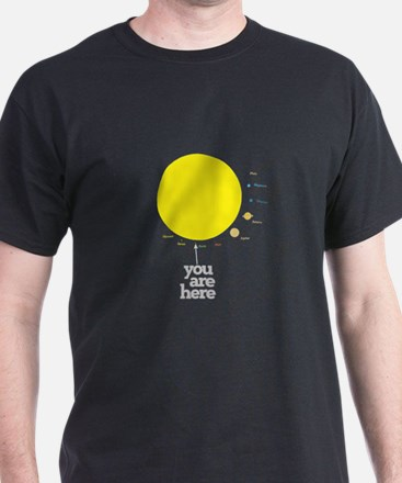 YOU ARE HERE (solar system to scale) T-Shirt