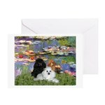 Lilies / 3 Poodles Greeting Card