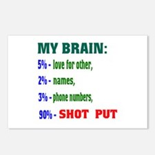 My Brain, 90 % Shot Put . Postcards (Package of 8)